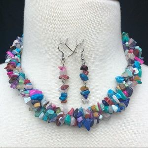 Multicolor Mixed Stone Chip Necklace Earrings Set